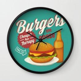 Burgers and Booze Wall Clock