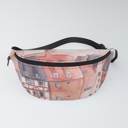 Small town watercolor illustration Fanny Pack