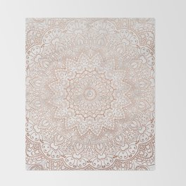 Mandala - rose gold and white marble 3 Throw Blanket