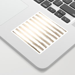 Simply Brushed Stripes White Gold Sands on White Sticker