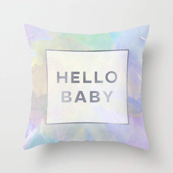 Hello Baby watercolor + typography Throw Pillow