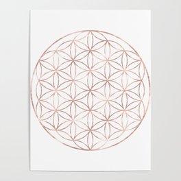 Mandala Rose Gold Flower of Life Poster