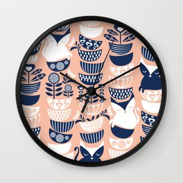 Swedish folk cats V // flesh background Wall Clock