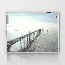 Bootssteg am Ammersee in Bayern - Ölbild Laptop & iPad Skin