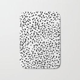Nadia - Black and White, Animal Print, Dalmatian Spot, Spots, Dots, BW Bath Mat