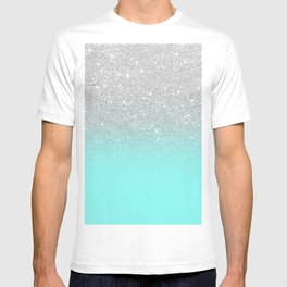 Modern girly faux silver glitter ombre teal ocean color bock T-shirt