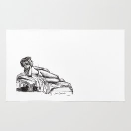 Reclining nude drawing from a live model Rug