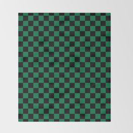 Black and Cadmium Green Checkerboard Throw Blanket