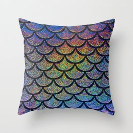 Cobalt Cantaloupe Scales Throw Pillow