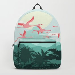 Flamingos flying through the Tropics Backpack