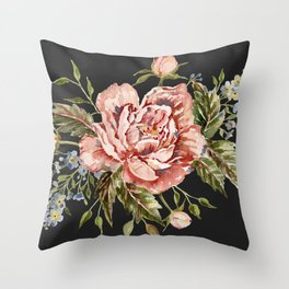 Pink Wild Rose Bouquet on Charcoal Throw Pillow
