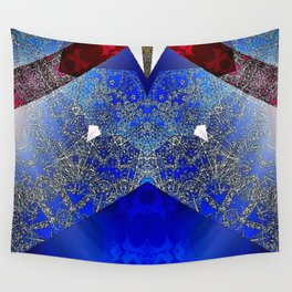 Royalty Inspired Blue Red Gold Abstract Wall Tapestry