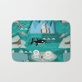 Arctic animals teal Bath Mat