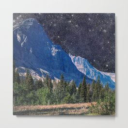 Night Sky Mountain Metal Print