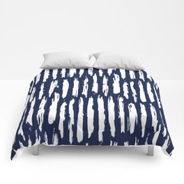 Vertical Dash White on Navy Blue Paint Stripes Comforters