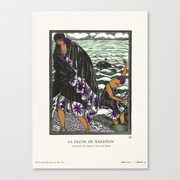 The Swim Lesson, 1921 - Fashion Illustration Canvas Print
