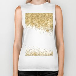 Sparkling golden glitter confetti effect Biker Tank