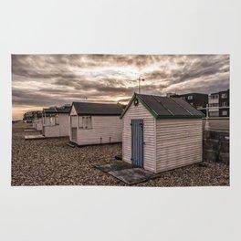 Beach Huts At Sunset Rug