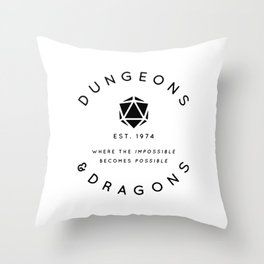 DUNGEONS & DRAGONS - WHERE THE IMPOSSIBLE BECOMES POSSIBLE Throw Pillow