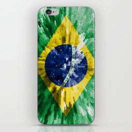Extruded flag of Brazil iPhone Skin