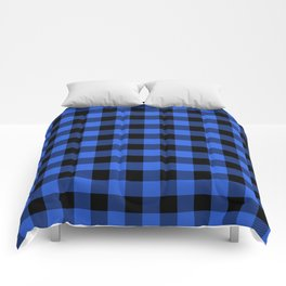 Royal Blue and Black Lumberjack Buffalo Plaid Fabric Comforters