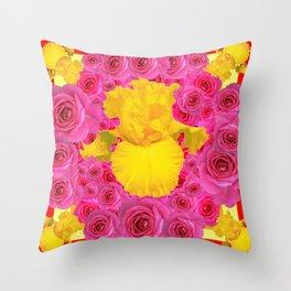 Pink Roses Yellow Iris Garden Abstract Throw Pillow