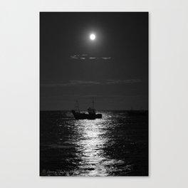 Sleeping fishing boat in the full moon Canvas Print