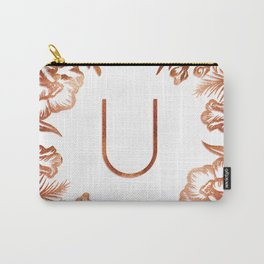 Letter U - Faux Rose Gold Glitter Flowers Carry-All Pouch