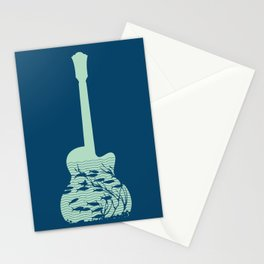Fish playing music in a guitar Stationery Cards