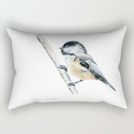 """Chicka-dee-dee-dee"" a painting of a Chickadee by Teresa Thompson Rectangular Pillow"