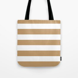 Wood brown - solid color - white stripes pattern Tote Bag