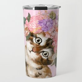 Baby Cat with Flower Crown Travel Mug