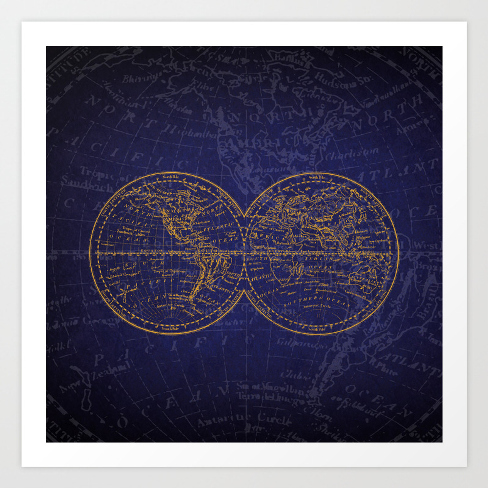 Antique Navigation World Map In Blue And Gold Art Print by Sundressed PRN8584306