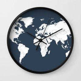 Minimalist World Map in Navy Blue Wall Clock