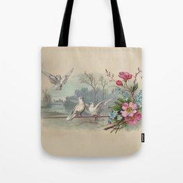 Vintage White Forest Birds Tote Bag