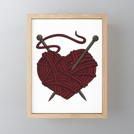 I Love Knitting | Wool Needle Heart Sewing Craft Framed Mini Art Print