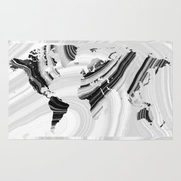 Black And White Marbled World Map - Sharon Cummings Rug