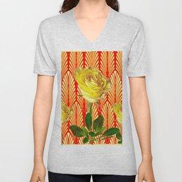 GRAPHIC YELLOW ROSE GARDEN ON RED ART DECO Unisex V-Neck