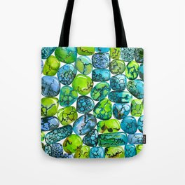 Turquoise pattern Tote Bag