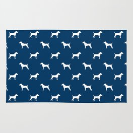 Jack Russell Terrier navy and white minimal dog pattern dog silhouette pattern Rug
