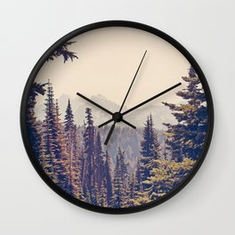 Mountains through the Trees Wall Clock