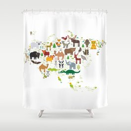 Eurasia animal bison fox wolf horse camel seal Walrus goats Polar bear Eagle bull raccoon snake bear Shower Curtain
