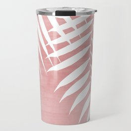 Pink Paint Stroke of Palm Leaves Travel Mug