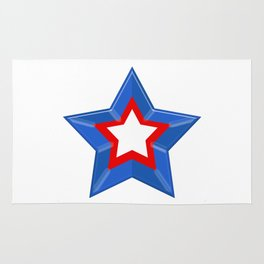 Patriotic Star Solid Red White and Blue Rug