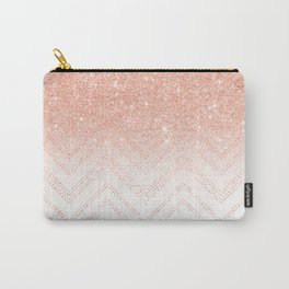 Faux salmon gold glitter ombre modern chevron pattern Carry-All Pouch