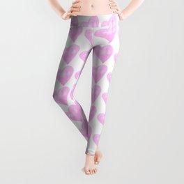 Light Pink Watercolor Heart Pattern Leggings
