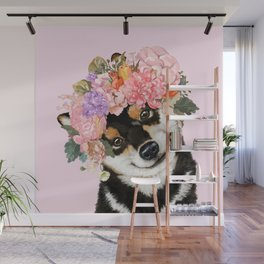 Black Shiba Inu with Flower Crown Pink Wall Mural