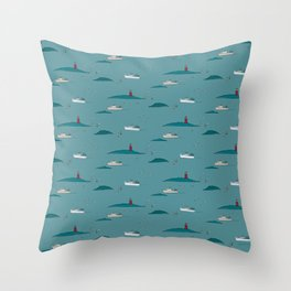 Lobstering in the Harbor Throw Pillow