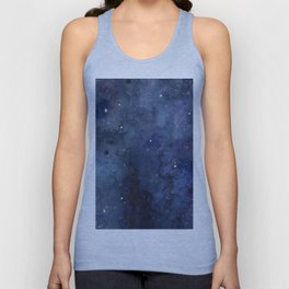 Galaxy Nebula Watercolor Night Sky Stars Outer Space Blue Texture Unisex Tank Top