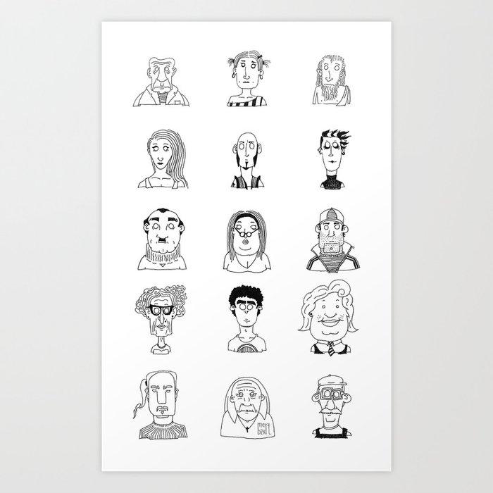 faces 3x5 art print by mmertbozkurt | society6